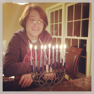 Charlie on the last night of Hanukkah.