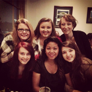 The some of our girls and me at Kristan's 18th birthday dinner. We were happy because we just ate delicious garlic rolls and pasta. Yum!!